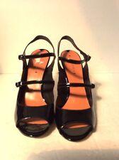 VIA SPIGA ROSEANNE Black Patent Leather Designer Mary Jane Open Toe Heels 10 m
