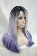 heat ok ombre black root with white and purple mix top quality straight long wig