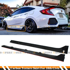 FOR 16-2020 CIVIC SEDAN TR STYLE CARBON TEXTURE SIDE SKIRT EXTENSION+ RED STRIP