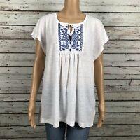 Gap Factory Peasant Boho Shirt Top LARGE White Blue Embroidered Split Neck Linen