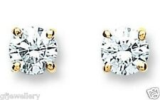 18CT HALLMARKED YELLOW GOLD 0.70CTS G/H SI1 DIAMOND SOLITAIRE STUD EARRINGS