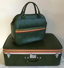 Green Ventura Luggage Suitcase Set large case and carry bag Vintage  MCM EVC!