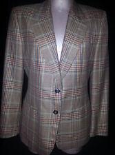 LORA PIANA Womens Suit Blazer Jacket Sz 42 Medium 10 Beige Brown Blue Red Blend