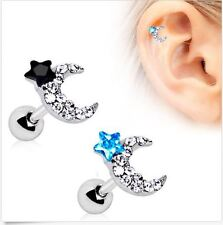 "Moon Cartilage Tragus Ear 16g 1/4"" 316 Stainless Steel Paved Cz Star Crescent"