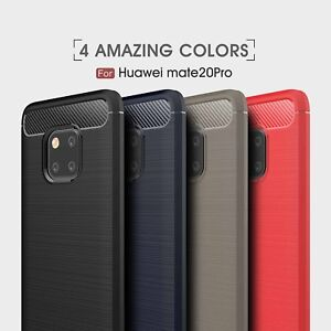 Shockproof Armor Carbon Fiber Hybrid Brush Case Cover For Huawei Mate 20 Pro