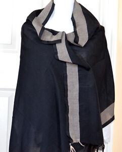 Cotton Silk Solid Black Color with Gray Border Soft Wrap, Stole, Dupatta