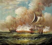 Bataille navale 51 x 61cm étiré peinture huile toile art décoration murale014