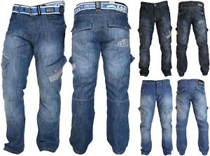 Mens Crosshatch Combat Cargo Jeans Denim Trousers Stone Dark or Light Wash - New