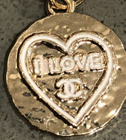 "Authentic Chanel Zipper Pull 20mm ""I Love CC"" Charming Button Gold Stamped"