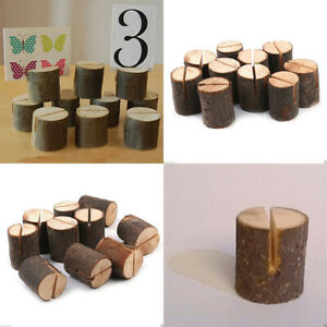 10 x Wooden Table Card Holder Stand Number Place Name Menu Wedding Party Decor