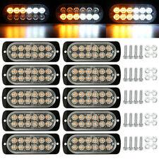 10x Amberwhite Led Grill Side Marker Emergency Strobe Light Bar Kit Tow Truck