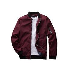 New Men Zipper Casual Work Jacket Fight Bomber Coat Thin Spring Fashion Baseball