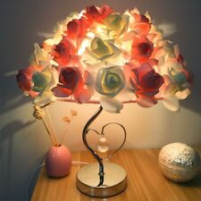 Pink Cream Rose Heart Bedside Table Romantic Lamp Wedding Gift