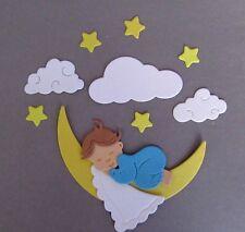 Stanzteile Scrapbooking  Kartenaufleger  Sticker  Baby mit Schäfchenwolken blau