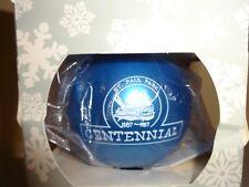 Vintage St. Paul Park Centennial Christmas Tree Ornament Ball Blue Glass 1987