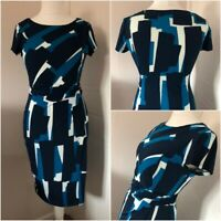 Roman Navy Teal White Ruched Wiggle Pencil Dress Size 10 Work Career Occassion
