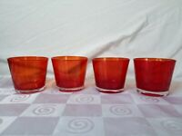 Hand Blown Old Fashioned Rocks Glasses Faded Glass Red Orange Set of 4