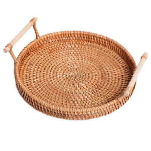 Rattan Storage Tray Round Basket Hand-Woven Snack Fruit Plate Pastoral Style
