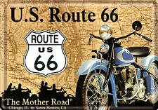 Nostalgic art Route 66 mère Road Avec Harley CARTE POSTALE en tôle/métal 10cm X