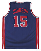 Lakers Magic Johnson Team USA Authentic Signed Blue Jersey BAS Witnessed