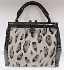 NANCY GONZALEZ Gray Animal Print Pony Hair & Black Trimmed Crocodile Bag