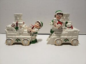 Lenox Holiday Toy Train Candlesticks Pair Santa's Toy Shop Complete in Box