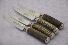 Four Genuine Chatsworth Stag/Antler Handle Steak Knives Made Sheffield England