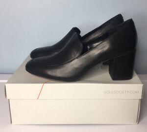 Sole Society Black Loafer Size 9.5 M Pump Block Heel Shoe Business Madigan NIB