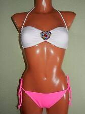 Victoria's Secret Bandeau Bikini Set M 38/40 weiß pink Pastell Steinchen Bunt