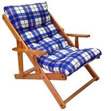 Poltrona Relax Sedia Sdraio Harmony in Legno Reclinabile con Cuscino Blu e Color