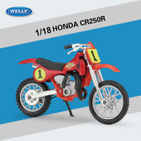 New Honda CR250R 19668 1:18 Alloy Diecast Motorcycle Model Toys by WELLY Red - 1