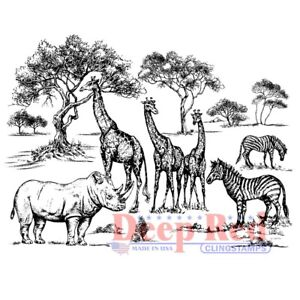 Deep Red Stamps Safari Rubber Cling Stamp