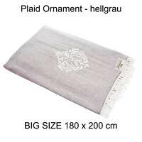 Plaid Tagesdecke ORNAMENT hellgrau Couchdecke Sofa Decke 180x200 cm 100% Cotton