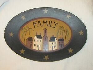 County Rustic Farmhouse Wood Oval Plate Platter Wall Decor Saltbox Houses Family