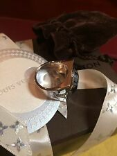 100% Auth LOUIS VUITTON Chevalier Snow Flow Ring with Custom Mount Diamonds RARE