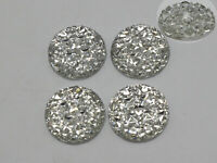 50 Clear Flatback Resin Round Cabochon Gems Pyramid Dotted Rhinestone 16mm