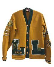 Vintage Wool Letter Sweater School College Letterman Varsity Cardigan 50s 60s