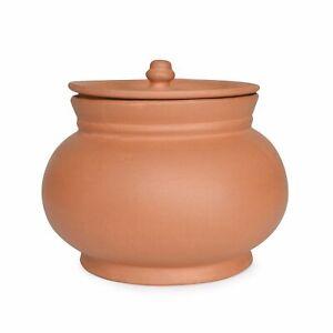 Terracotta Clay Yogurt Setting Pot Curd Making Bowl With Lid Salad Serving 750ml