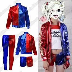New Kids Red Blue Misfit Cosplay Suicide Squad Halloween Costume Leggings Jacket