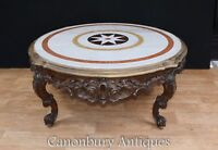 Carved Italian Rococo Coffee Table Round Marble Top