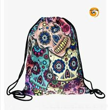 Skull Candy Print Bag Sugar Candy Backpack Drawstring Teen Bag Boho emo goth