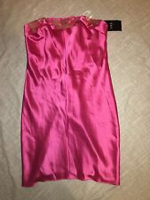 NWT ABS Pink Strapless Satin Dress with Disc Sequins Size 6 evening $350.00