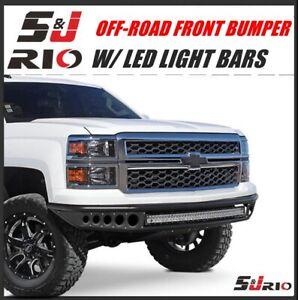BLACK OFF-ROAD FRONT BUMPER W/ LIGHT BARS FOR 2014-2018 CHEVY SILVERADO 1500