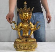 Tibet Bronze Copper Gild 3 Face 8 Arm GuanYin Kwan-yin Buddha Bodhisattva Statue