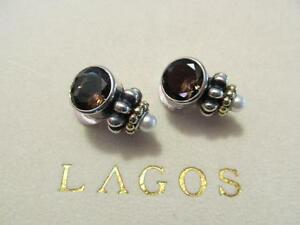 Lagos Caviar Smoky Quartz & Pearl Sterling Silver~18K Yellow Gold Unmarked