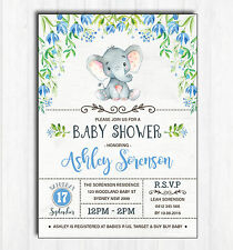 Elephant Baby Shower Invitation Floral Invite Blue Flower Little Peanut Birthday