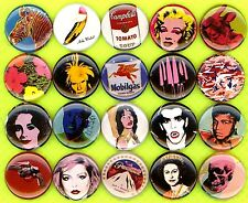 Andy Warhol button pin badge set of 20 marilyn mao liz debbie jagger portraits