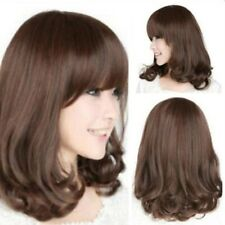 Women's Heat Resistant Long Curly Brown Wigs Hair Cosplay Costume Full Wigs USA