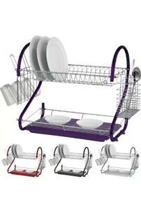 2 Layer,tier,black purple,red & chrome colour dish,spoon drainer,strainer racks,