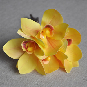 Yellow Orchid Fake Flowers 4Pcs/Bundle Orchid Artificial Flowers Wedding Decor